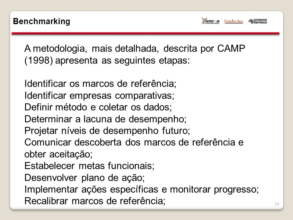 Identificar os marcos de referência;