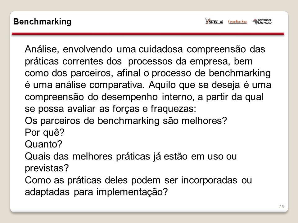 Os parceiros de benchmarking são melhores Por quê Quanto