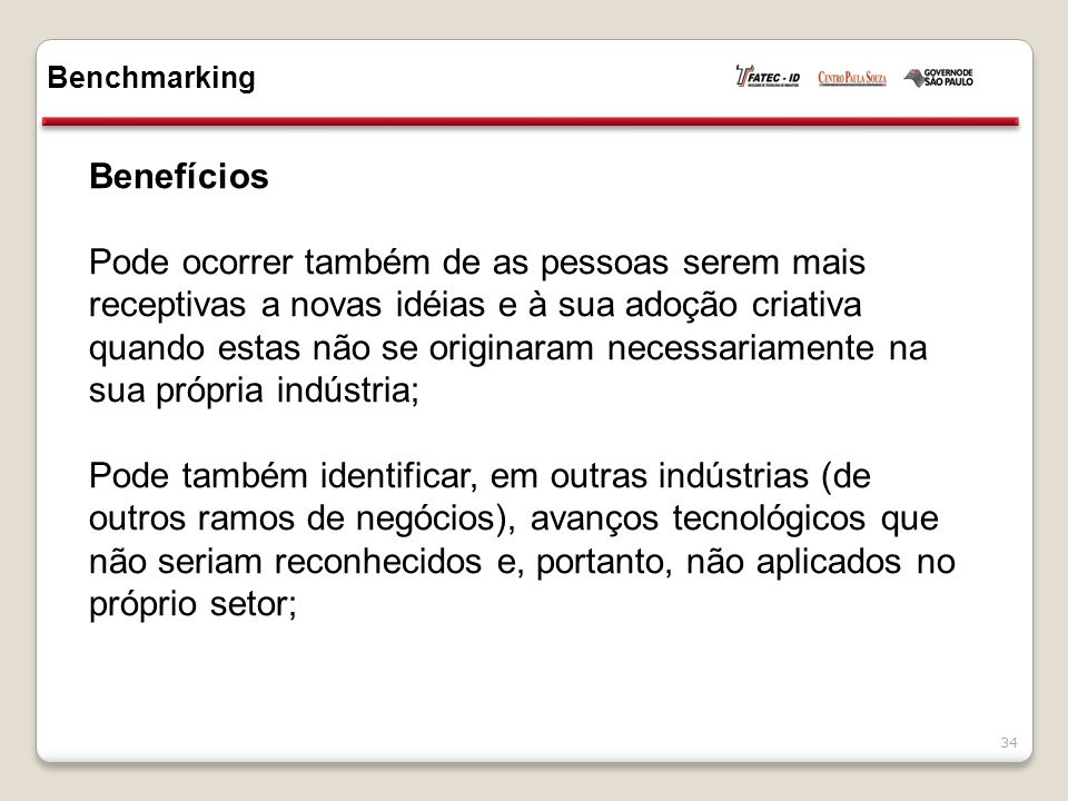 Benchmarking Benefícios.