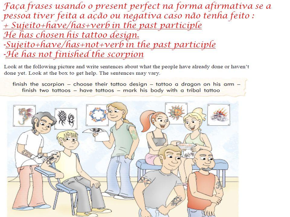 Faça frases usando o present perfect na forma afirmativa se a pessoa tiver feita a ação ou negativa caso não tenha feito :