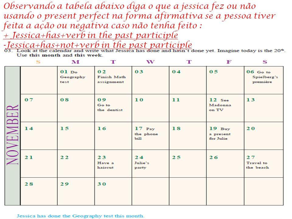 Observando a tabela abaixo diga o que a jessica fez ou não usando o present perfect na forma afirmativa se a pessoa tiver feita a ação ou negativa caso não tenha feito :