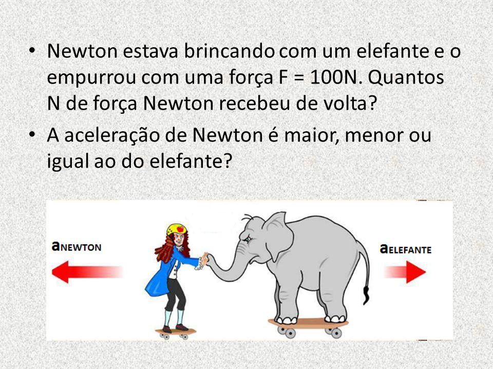 Newton estava brincando com um elefante e o empurrou com uma força F = 100N. Quantos N de força Newton recebeu de volta