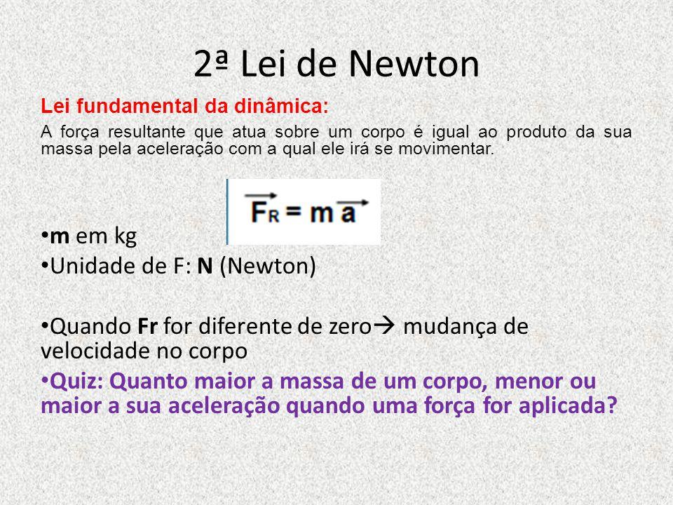 2ª Lei de Newton m em kg Unidade de F: N (Newton)