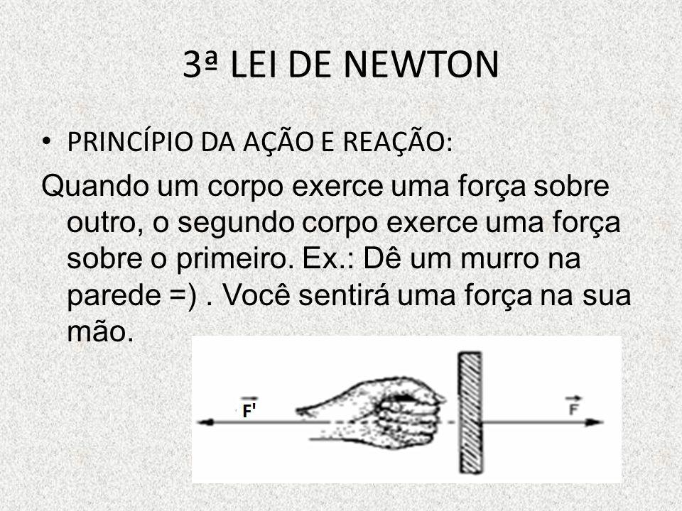 3ª LEI DE NEWTON PRINCÍPIO DA AÇÃO E REAÇÃO: