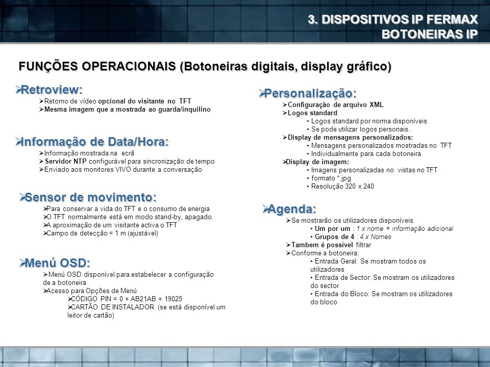 3. DISPOSITIVOS IP FERMAX BOTONEIRAS IP