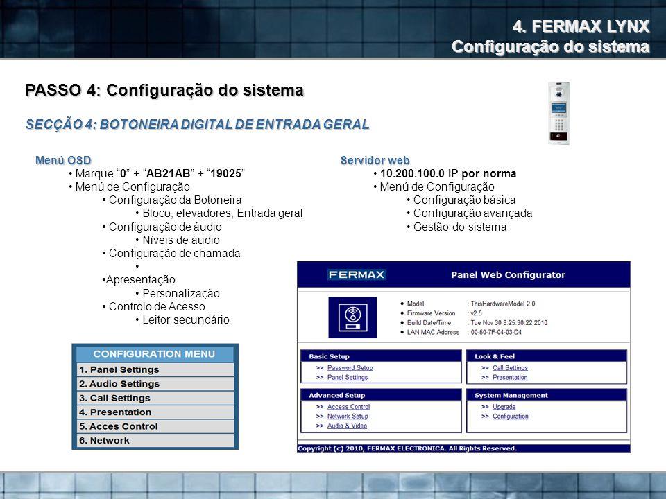 Configuração do sistema