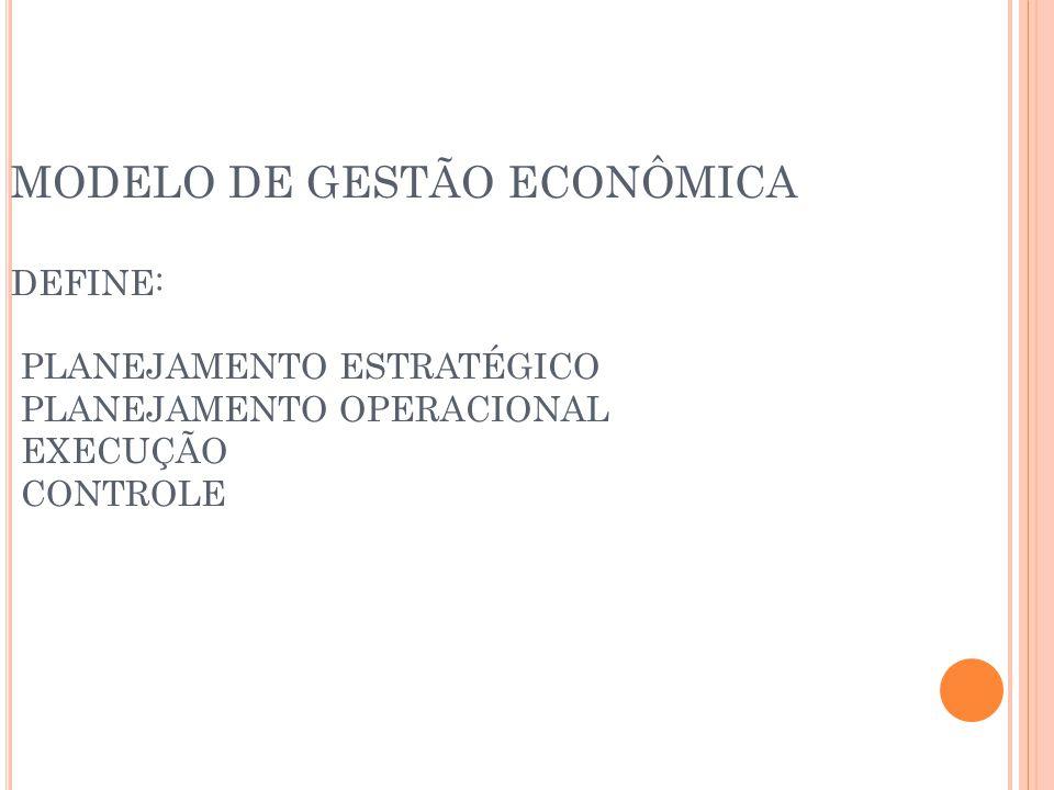 MODELO DE GESTÃO ECONÔMICA DEFINE: PLANEJAMENTO ESTRATÉGICO PLANEJAMENTO OPERACIONAL EXECUÇÃO CONTROLE