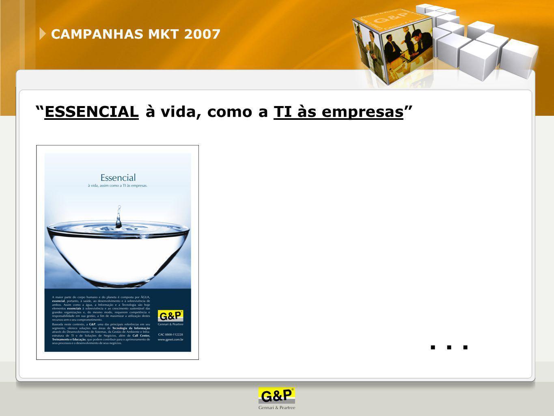 CAMPANHAS MKT 2007 ESSENCIAL à vida, como a TI às empresas . . .