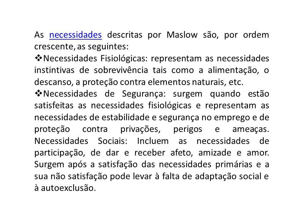 As necessidades descritas por Maslow são, por ordem crescente, as seguintes: