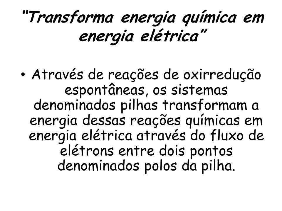 Transforma energia química em energia elétrica