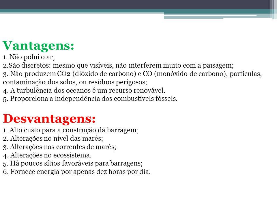 Vantagens: Desvantagens: 1. Não polui o ar;