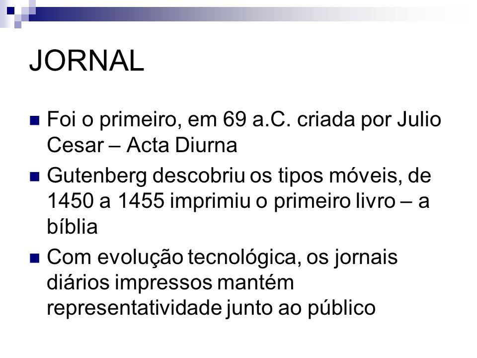 JORNAL Foi o primeiro, em 69 a.C. criada por Julio Cesar – Acta Diurna