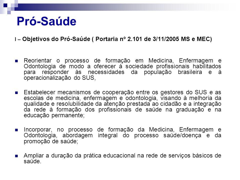 Pró-Saúde I – Objetivos do Pró-Saúde ( Portaria nº 2.101 de 3/11/2005 MS e MEC)