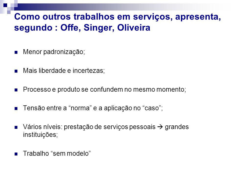 Como outros trabalhos em serviços, apresenta, segundo : Offe, Singer, Oliveira