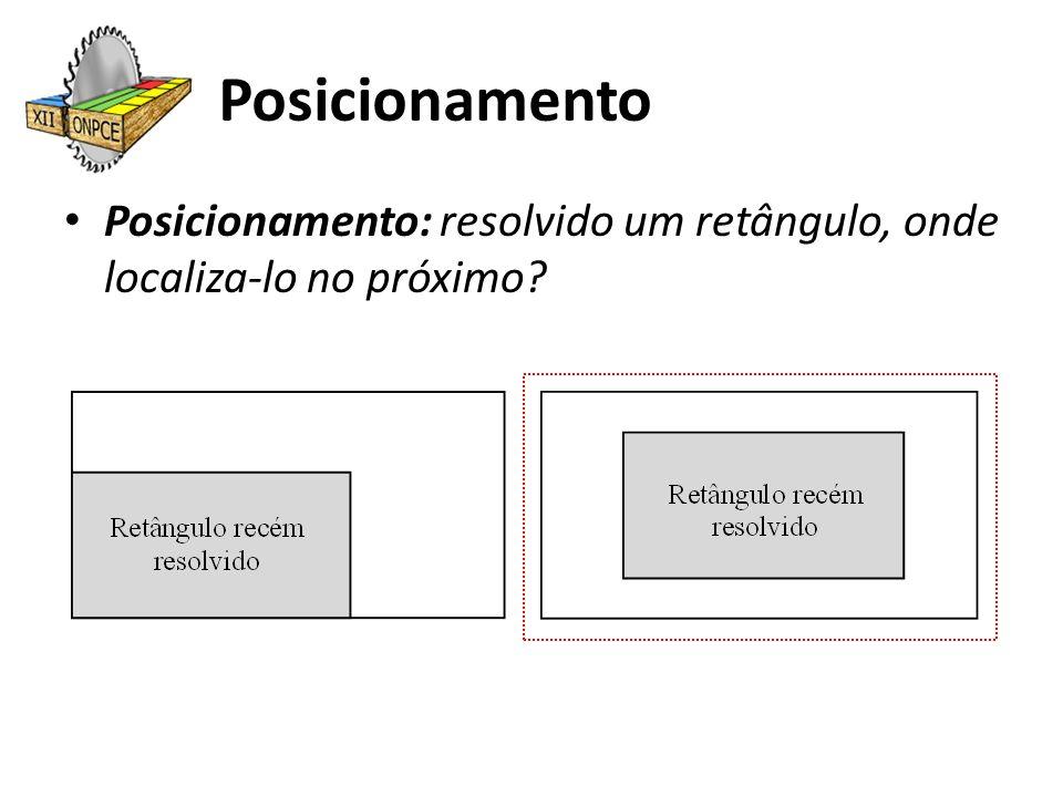 Posicionamento Posicionamento: resolvido um retângulo, onde localiza-lo no próximo