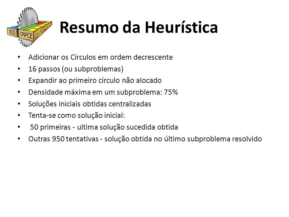 Resumo da Heurística Adicionar os Círculos em ordem decrescente