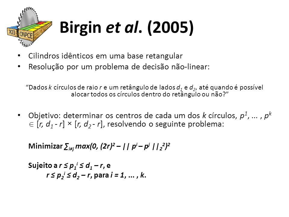 Birgin et al. (2005) Cilindros idênticos em uma base retangular