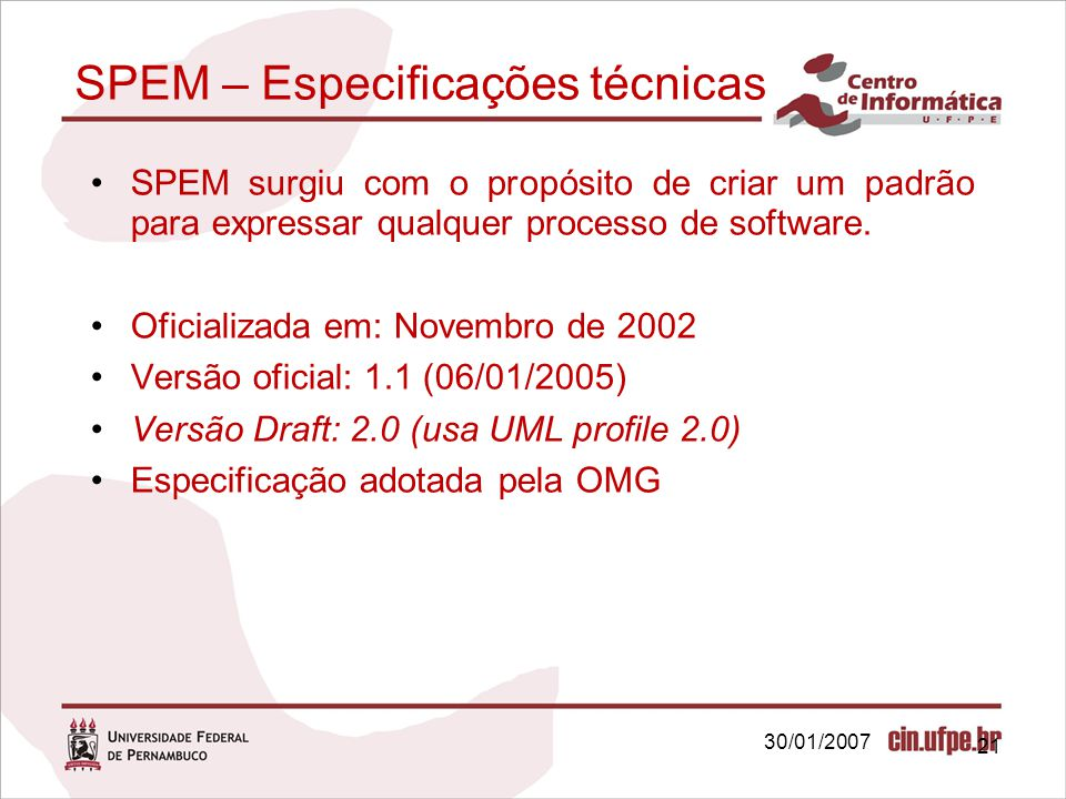 SPEM – Especificações técnicas