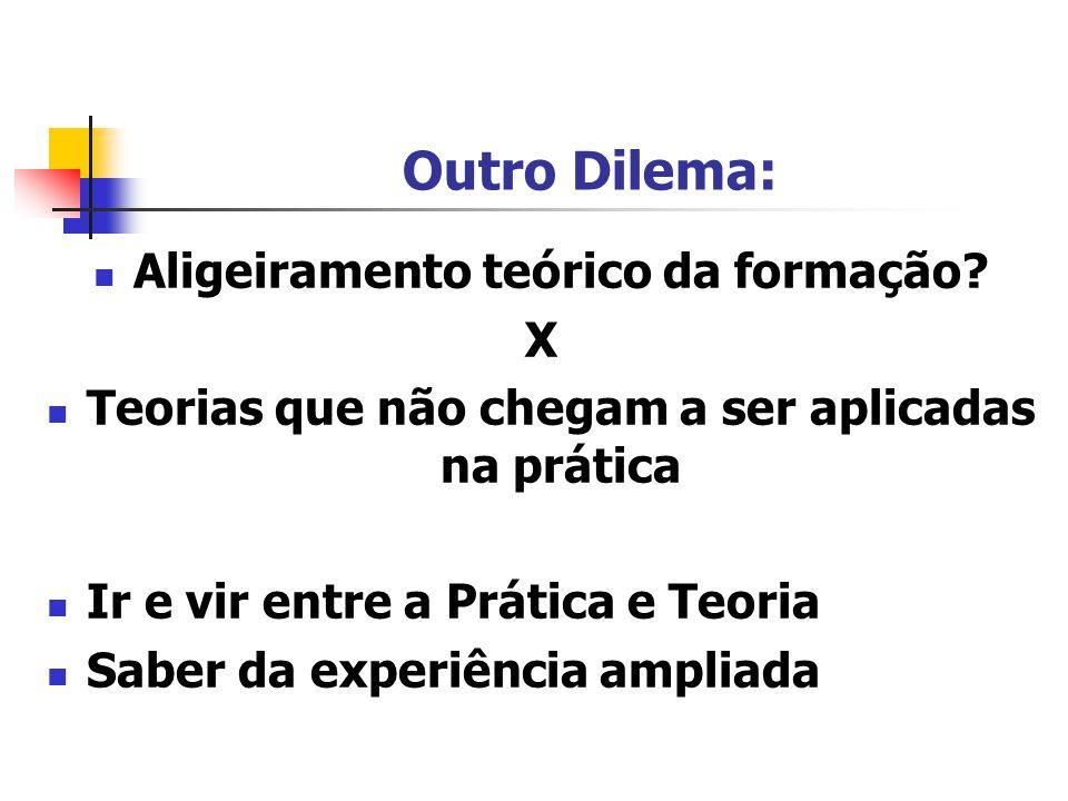 Outro Dilema: Aligeiramento teórico da formação X