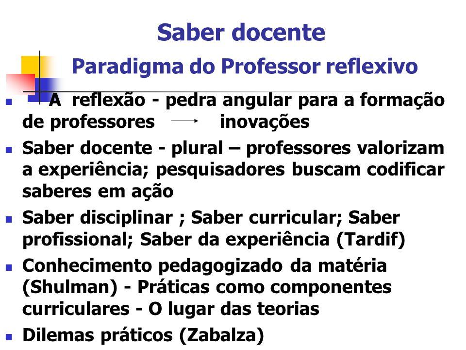 Saber docente Paradigma do Professor reflexivo
