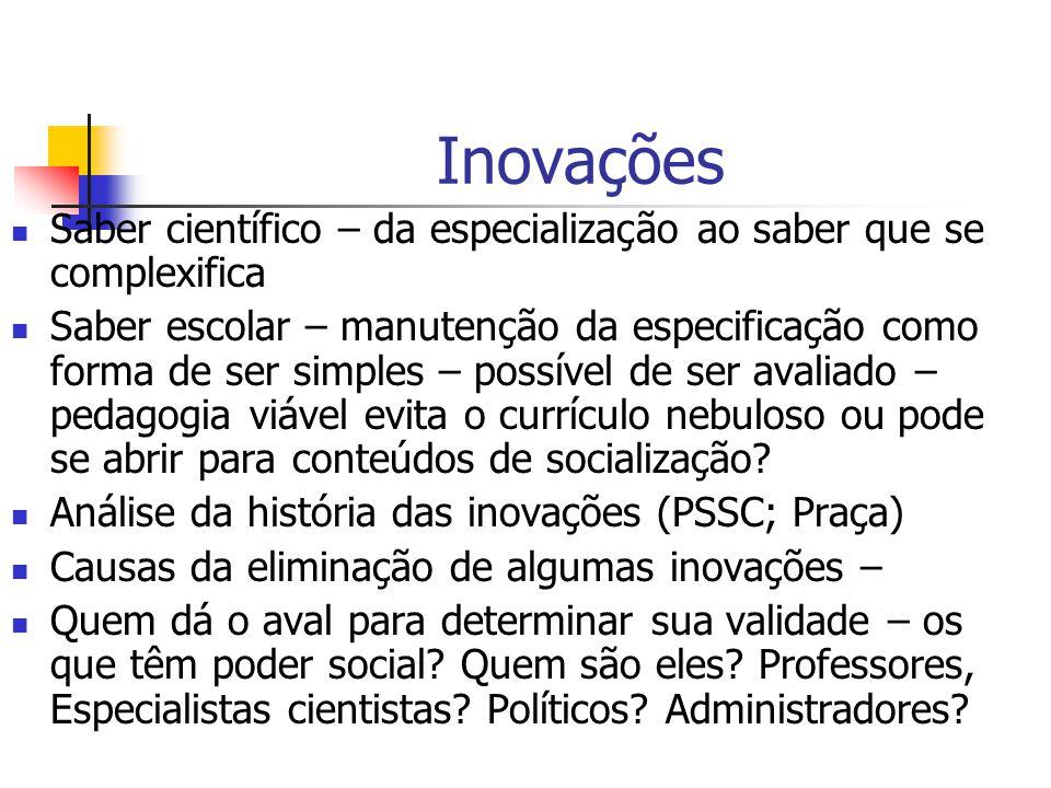 Inovações Saber científico – da especialização ao saber que se complexifica.