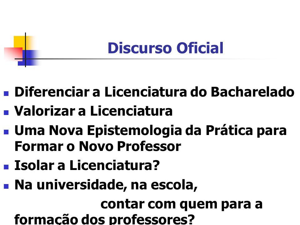 Discurso Oficial Diferenciar a Licenciatura do Bacharelado