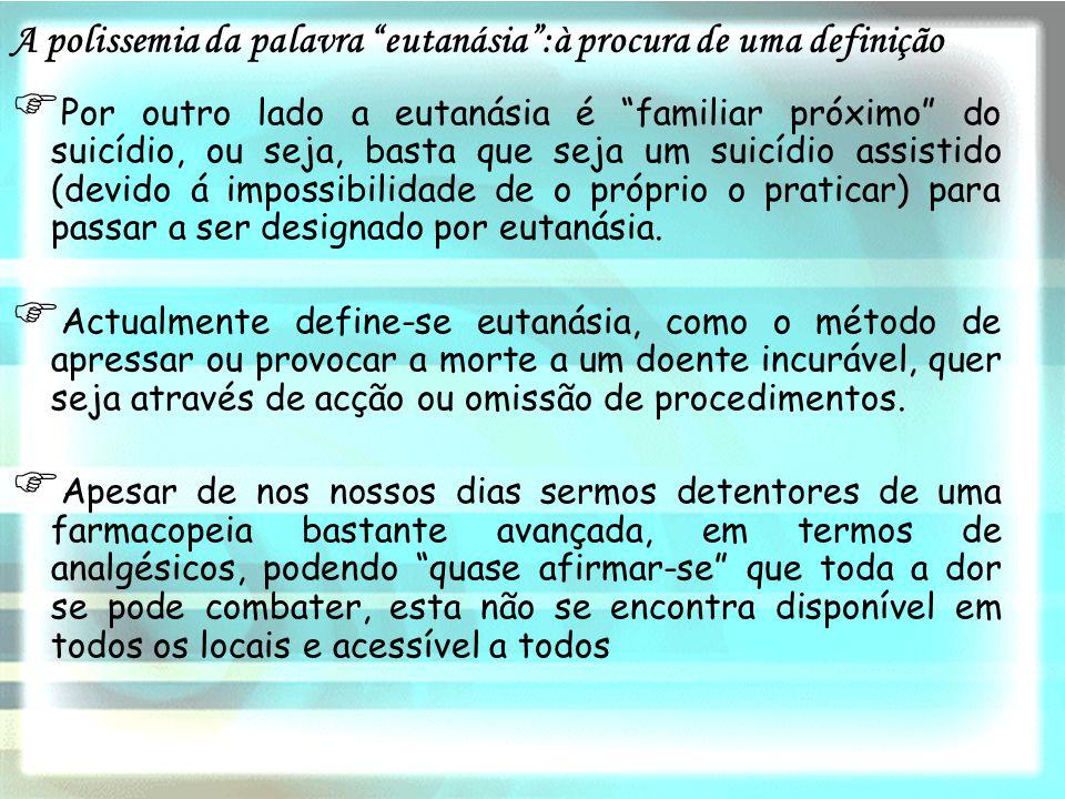 A polissemia da palavra eutanásia :à procura de uma definição