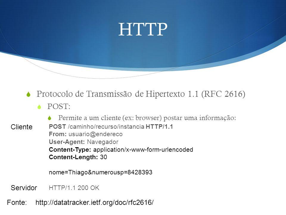 HTTP Protocolo de Transmissão de Hipertexto 1.1 (RFC 2616) POST: