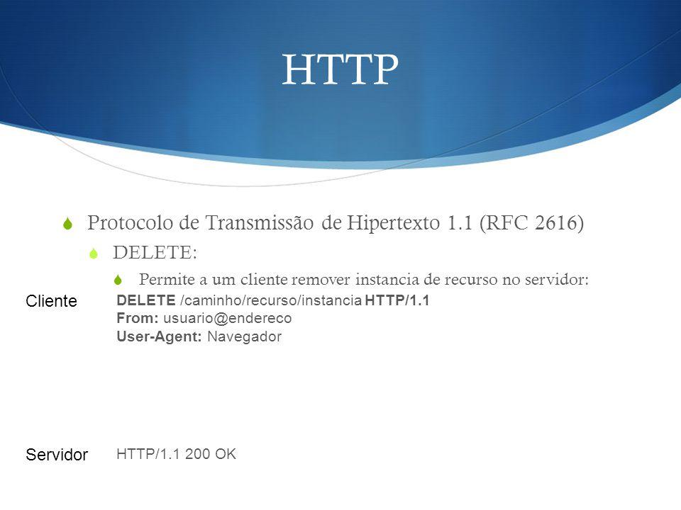 HTTP Protocolo de Transmissão de Hipertexto 1.1 (RFC 2616) DELETE: