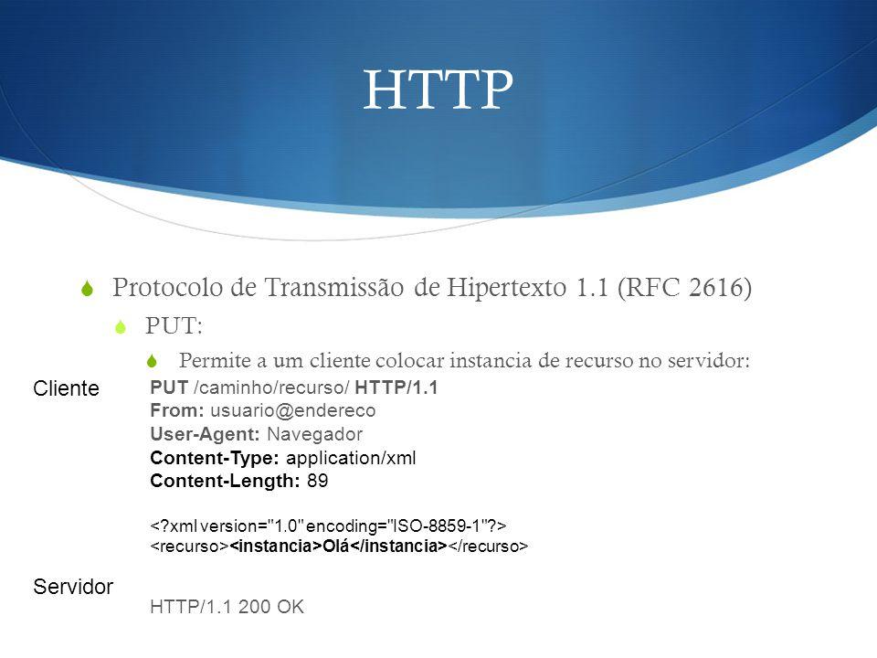 HTTP Protocolo de Transmissão de Hipertexto 1.1 (RFC 2616) PUT: