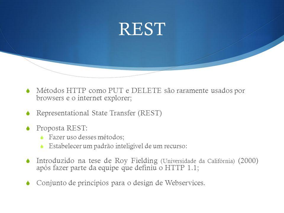 REST Métodos HTTP como PUT e DELETE são raramente usados por browsers e o internet explorer; Representational State Transfer (REST)