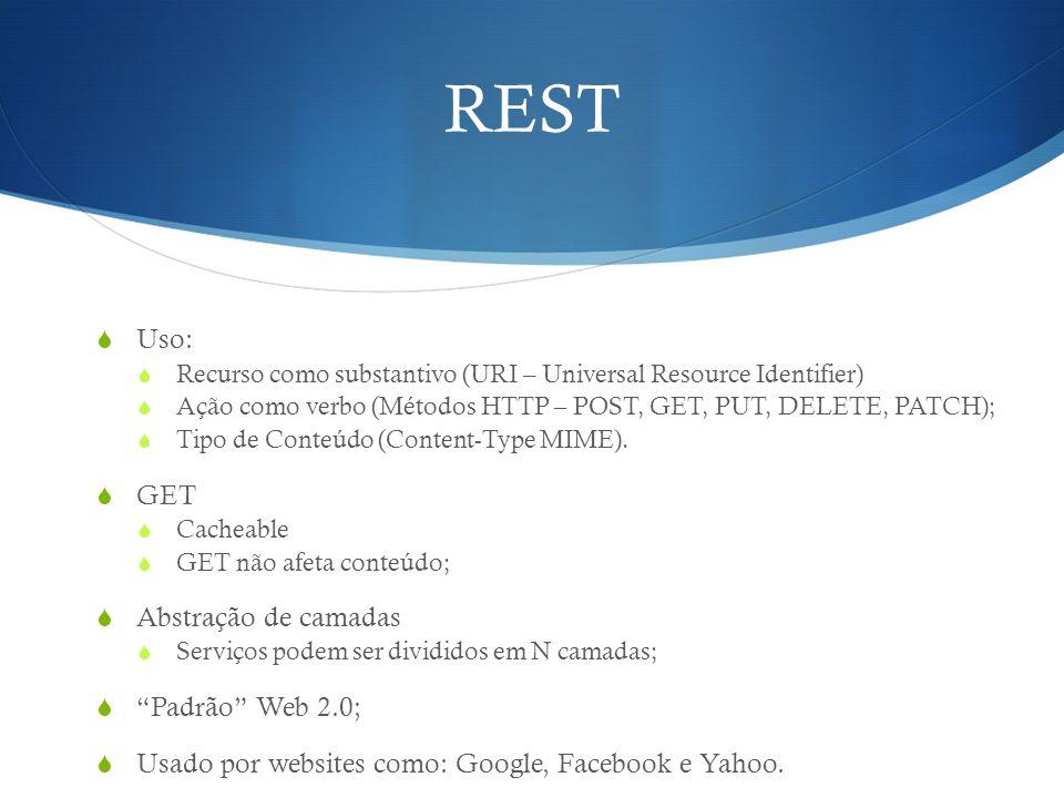 REST Uso: GET Abstração de camadas Padrão Web 2.0;