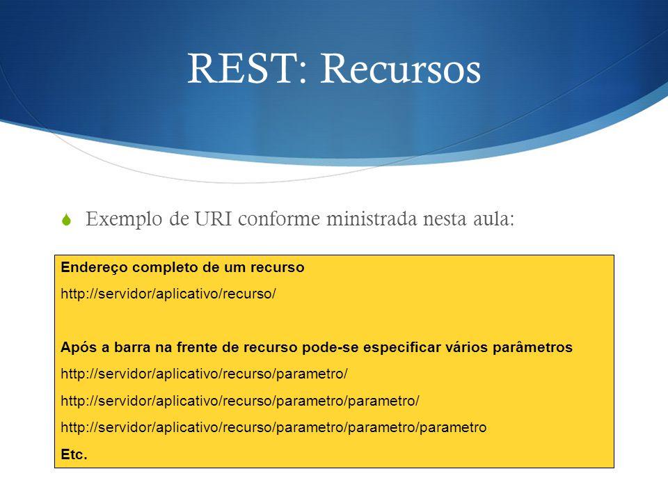 REST: Recursos Exemplo de URI conforme ministrada nesta aula: