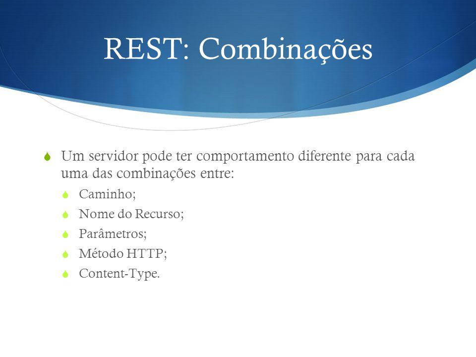 REST: Combinações Um servidor pode ter comportamento diferente para cada uma das combinações entre: