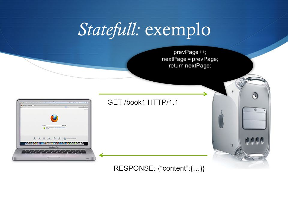 Statefull: exemplo GET /book1 HTTP/1.1 RESPONSE: { content :{…}}