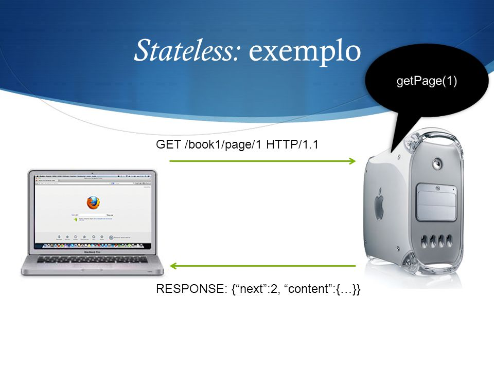Stateless: exemplo getPage(1) GET /book1/page/1 HTTP/1.1