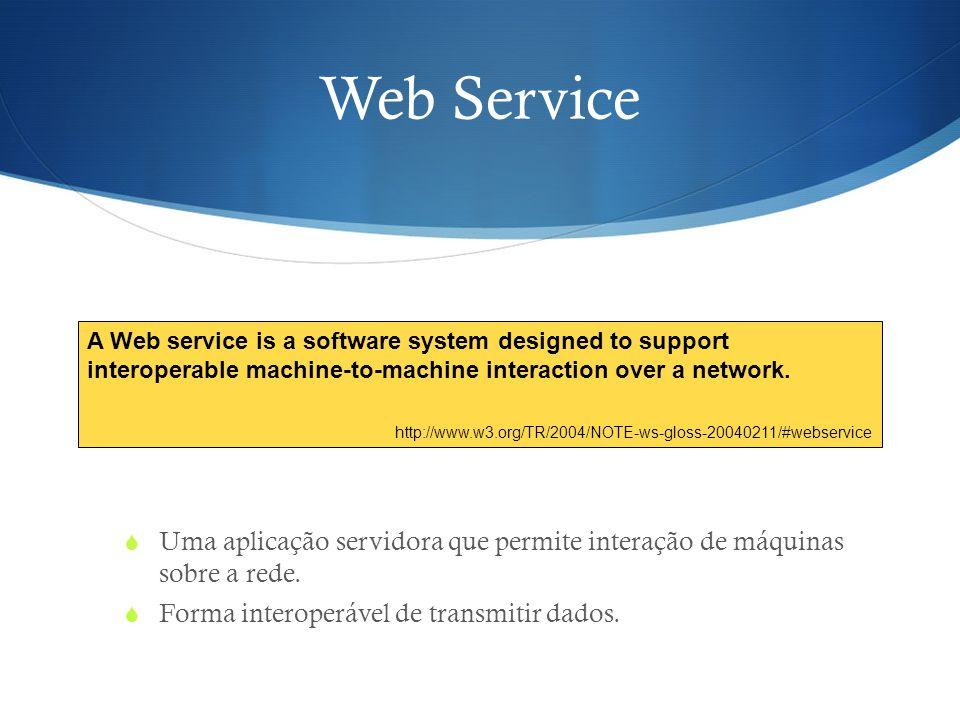 Web Service Uma aplicação servidora que permite interação de máquinas sobre a rede. Forma interoperável de transmitir dados.