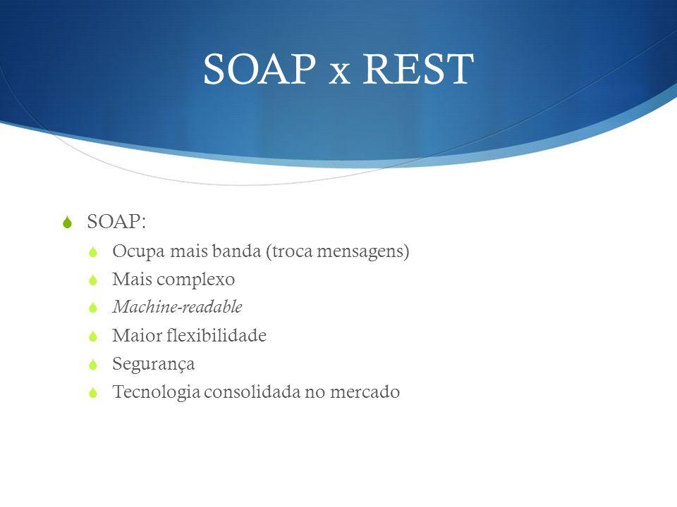 SOAP x REST SOAP: Ocupa mais banda (troca mensagens) Mais complexo
