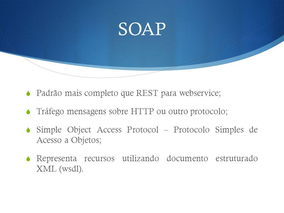 SOAP Padrão mais completo que REST para webservice;
