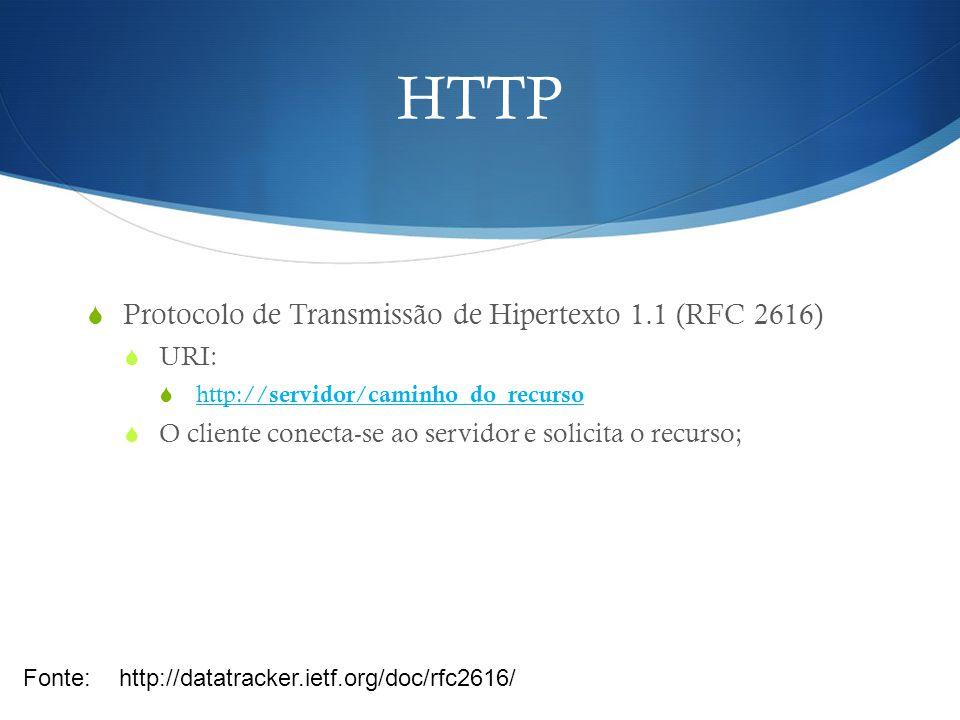 HTTP Protocolo de Transmissão de Hipertexto 1.1 (RFC 2616) URI: