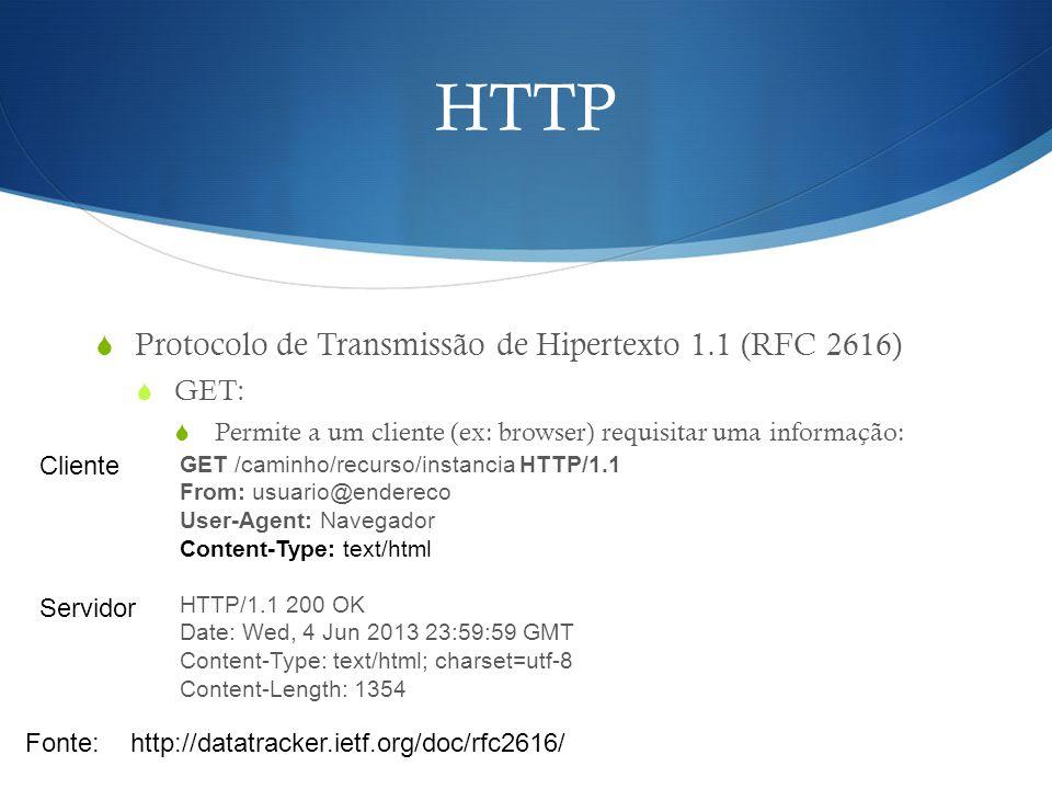 HTTP Protocolo de Transmissão de Hipertexto 1.1 (RFC 2616) GET: