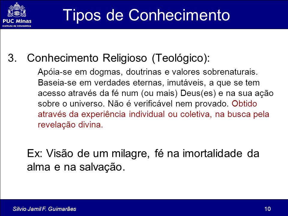 Tipos de Conhecimento Conhecimento Religioso (Teológico):