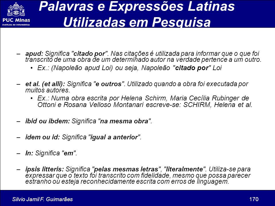 Palavras e Expressões Latinas Utilizadas em Pesquisa