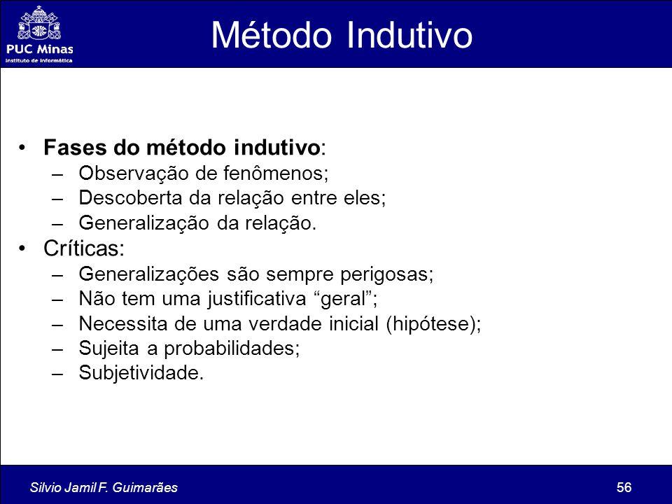 Método Indutivo Fases do método indutivo: Críticas: