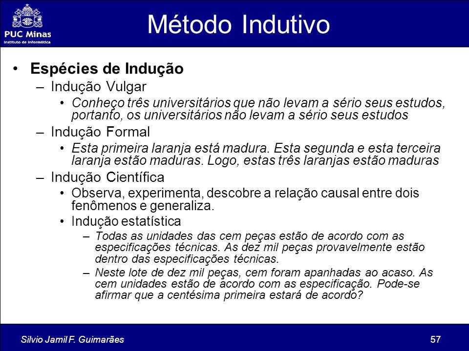 Método Indutivo Espécies de Indução Indução Vulgar Indução Formal