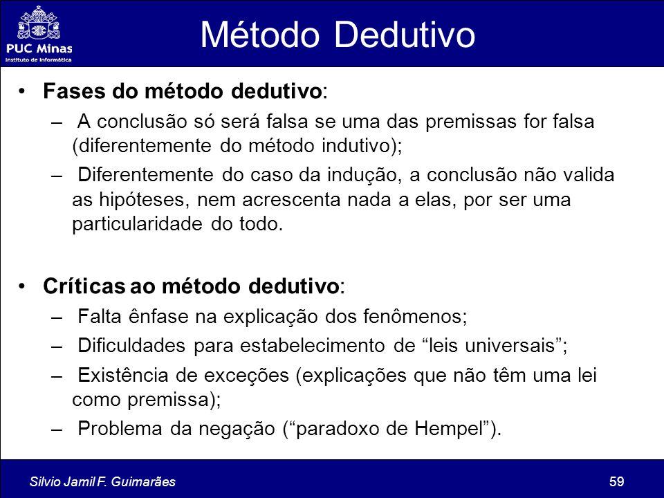 Método Dedutivo Fases do método dedutivo: Críticas ao método dedutivo:
