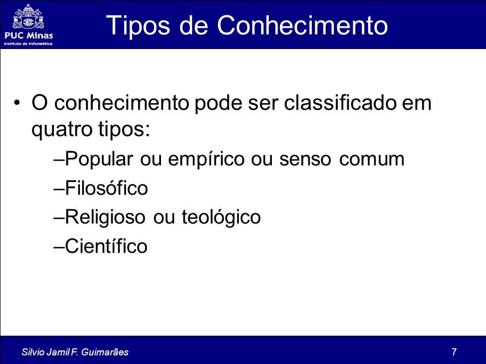 Tipos de Conhecimento O conhecimento pode ser classificado em quatro tipos: Popular ou empírico ou senso comum.