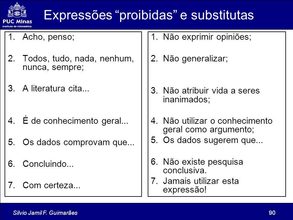 Expressões proibidas e substitutas