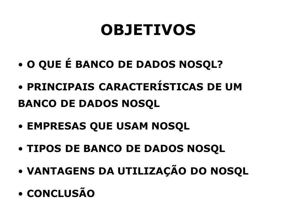 OBJETIVOS O QUE É BANCO DE DADOS NOSQL