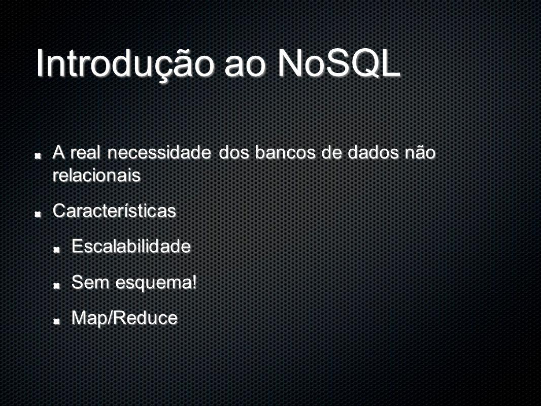 Introdução ao NoSQL A real necessidade dos bancos de dados não relacionais. Características. Escalabilidade.
